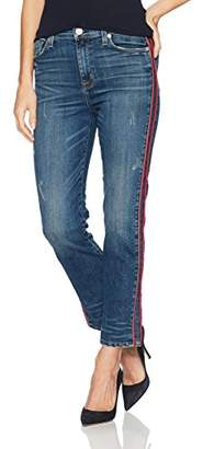 Hudson Jeans Women's Zoeey High Rise Ankle Straight Jeans with Tuxedo Stripe