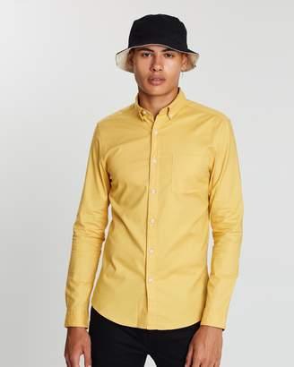 Topman Long Sleeve Stretch Skinny Oxford Shirt