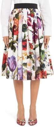 Dolce & Gabbana Floral Print A-Line Poplin Midi Skirt