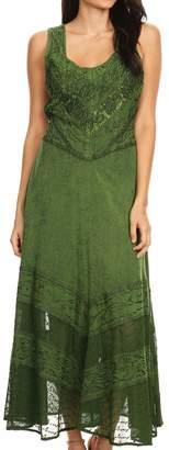 Sakkas 15225 - Zendaya Stonewashed Rayon Embroidered Floral Vine Sleeveless V-neck Dress