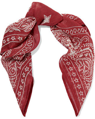 Star Printed Gauze Scarf - Red