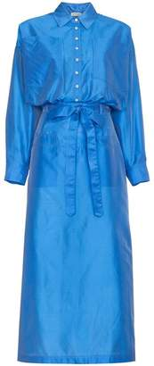 ATTICO Silk Button Down Shirt Dress