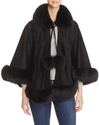 Maximilian Furs Fox Fur Trim Cashmere Cape - 100% Exclusive