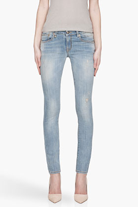R 13 Faded blue dirty and distressed Skinny Jeans