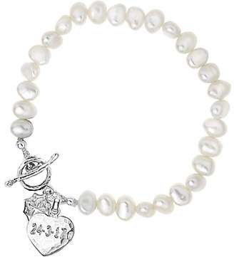 Dower & Hall Engravable Heart Pearl Bracelet