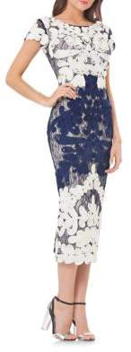 Js Collections Boatneck Two-Tone Embroidered Dress $389 thestylecure.com