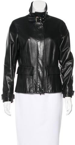 Max MaraMaxMara Mock Neck Leather Jacket