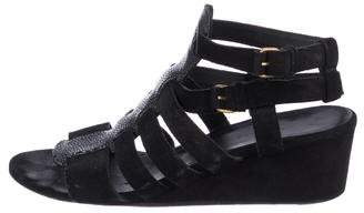 Balenciaga Suede Embossed-Trimmed Wedges
