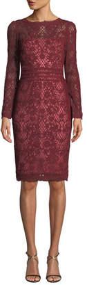 Tadashi Shoji Beckett Lattice Lace Long-Sleeve Dress