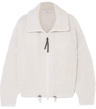 Brunello Cucinelli Ribbed Cashmere Cardigan - White