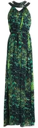 Matthew Williamson Belted Embellished Printed Silk-Chiffon Gown