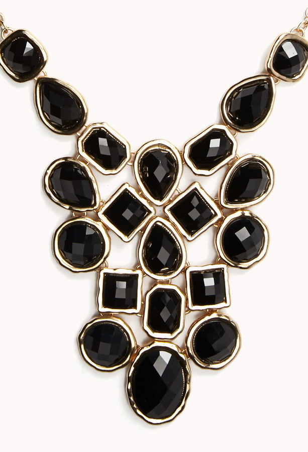 Forever 21 Faceted Faux Stone Bib Necklace