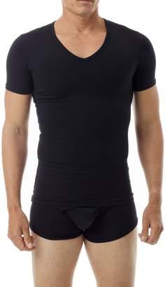 Underworks Cotton Concealer Compression V-Neck T-Shirt Top Small