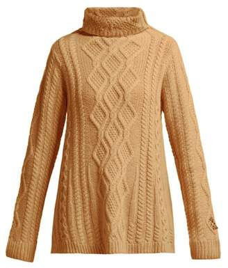 Queene And Belle - Hester Cable Knit Cashmere Roll Neck Sweater - Womens - Beige
