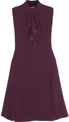 Prada - Lace-trimmed Ruffled Crepe Dress - Merlot