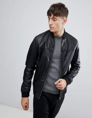 Esprit Leather Bomber Jacket