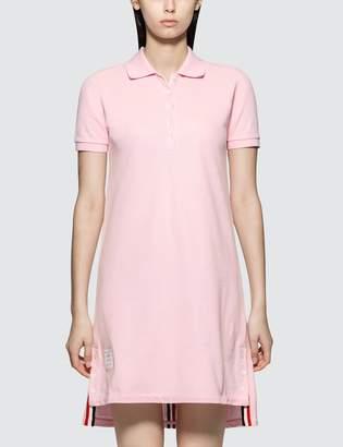 Thom Browne Short Sleeve A-line Polo Dress W/ Cb Rwb Stripe In Classic Pique