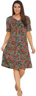Denim & Co. V-Neckline Fit & Flare Elbow-Sleeve Printed Dress