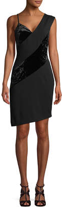 Rachel Roy Asymmetric Mixed Media Velvet Dress