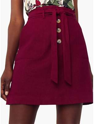 Oasis Belted Paperbag Skirt, Berry