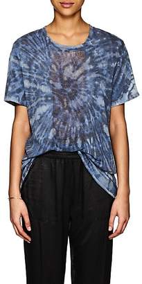 Raquel Allegra Women's Tie-Dyed Shredded Silk T-Shirt - Blue