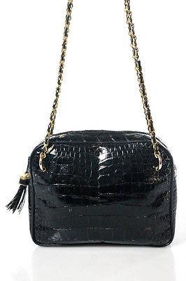 Designer Black Alligator Woven Strap Vintage Shoulder Handbag