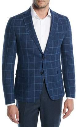 BOSS Large Plaid Wool-Cotton Jacket