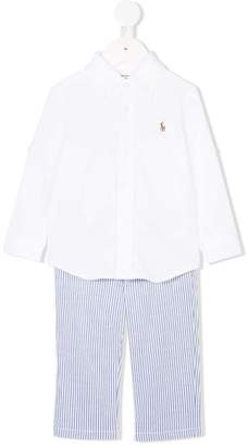 Ralph Lauren shirt and striped trousers
