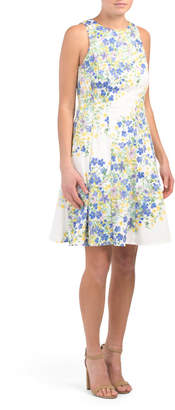 Maggy London Cotton Blend Fit And Flare Dress