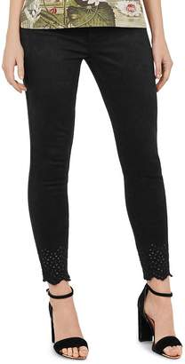 Ted Baker Massiee Embroidered-Hem Skinny Jeans in Black
