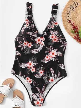 04d78b8955 Shein Plus Tropical Ruffle Low Back One Piece Swimsuit