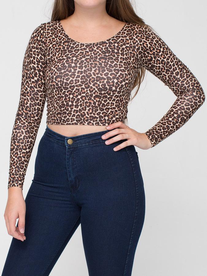 American Apparel Leopard Print Cotton Spandex Jersey Long Sleeve Crop Top