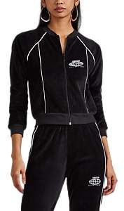 Visitor On Earth Women's Logo Cotton-Blend Velour Track Jacket - Black