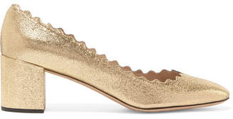 Chloé Lauren Scalloped Cracked-leather Pumps - Gold