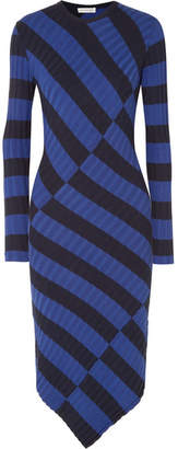 Altuzarra Whistler Asymmetric Striped Ribbed-knit Dress - Royal blue