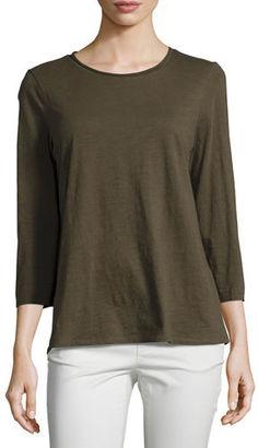 Eileen Fisher 3/4-Sleeve Slubby Organic Jersey Top $88 thestylecure.com