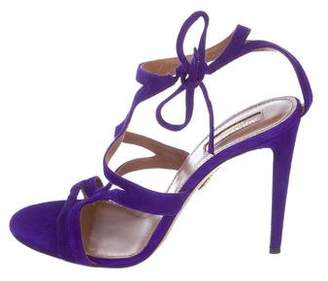 Aquazzura Suede Wrap Tie Sandals