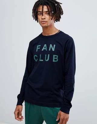 Wood Wood Fan Club long sleeve t-shirt in navy