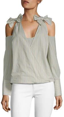 BCBGMAXAZRIA Stripe Cold-Shoulder Top
