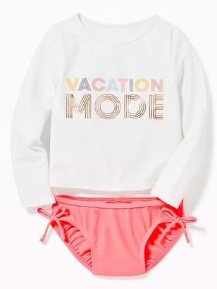 "Old Navy ""Vacation Mode"" Rashguard Swim Set for Toddler Girls"