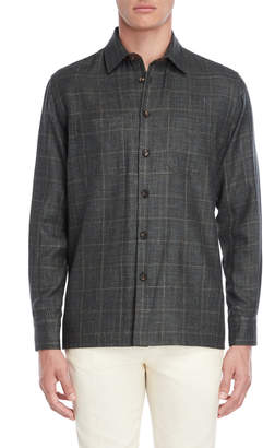 Luciano Barbera Green Houndstooth Check Sport Shirt