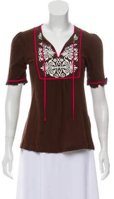 Tory Burch Embroidered Short Sleeve Top