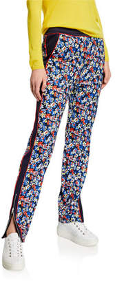 Rag & Bone Mid-Rise Floral-Print Track Pants w/ Paneled Sides