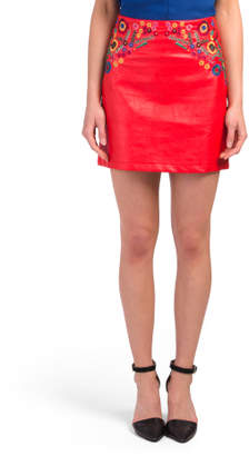 Juniors Embroidered Faux Leather Skirt