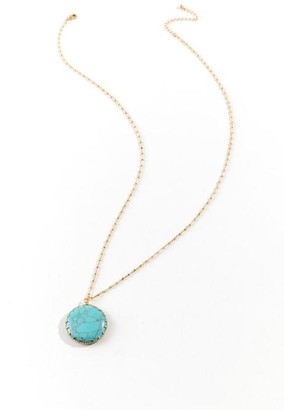 Eileen Circle Drop Necklace in Blue - Turquoise