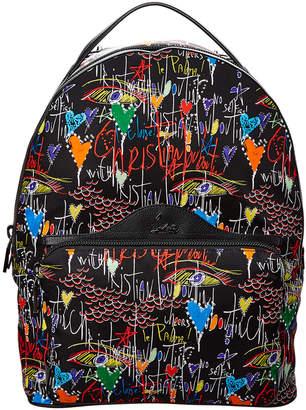 Christian Louboutin Backloubi Graffiti Nylon & Leather Backpack