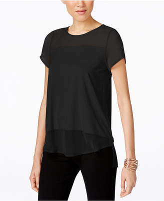Vince Camuto Vince Caumto High-Low Sheer-Contrast Top
