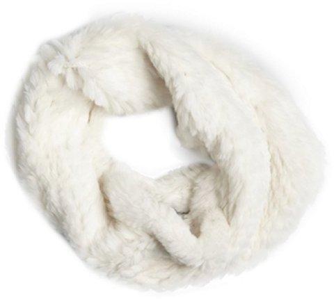 Adrienne Landau white rabbit fur cowl neck scarf
