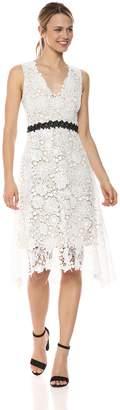Donna Morgan Women's V-Neck Lace Midi Dress
