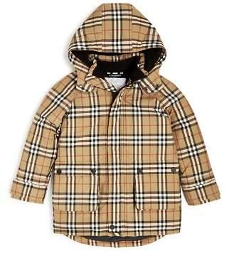 Burberry Boys' Chrissy Vintage Check Hooded Down Puffer Coat - Little Kid, Big Kid